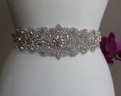 Elegant and gorgeous rhinestone trim, beaded detailed bridal sash, wedding sash, rhinestone belt, bridal belt, rhinestone applique
