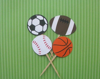 Sports Cupcake Toppers - Set of 12 - MADE TO ORDER