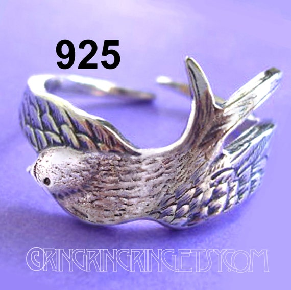 Swallow Bird Ring Wing ring Unique Sterling Silver Jewelry Adjustable ring Sterling silver ring Bird ring Not spoon ring R-035