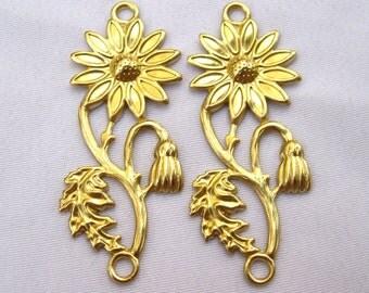 10pcs Brass Stamping Filigree Findings Flower Sunflower bf138