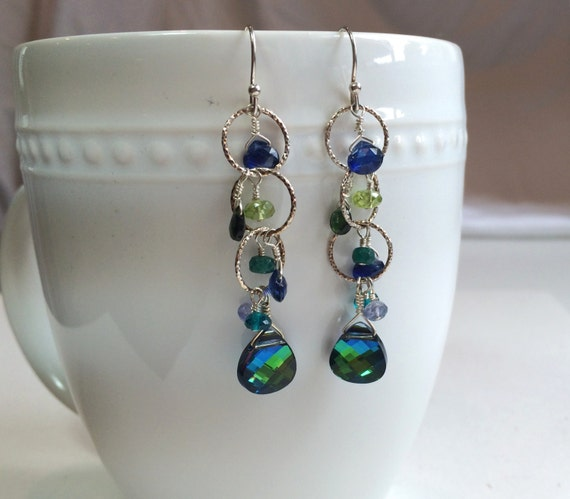 Blue Gemstone Earrings: Sapphire, Peridot, Emerald, Apatite, Chrome Diopside, Tanzanite and Swarovski Dangle Earring, Gemstone Drops