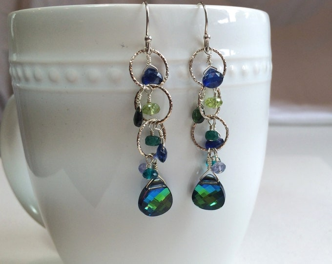 Blue Gemstone Earrings: Sapphire, Peridot, Emerald, Apatite, Chrome Diopside, Tanzanite and Swarovski Dangle Earring, Gemstone Drops
