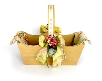 Large Wooden Basket Decorated with Flowers and Linen