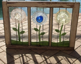 Stained Glass Plate Flowers Mosaic Repurpose Wooden Window Vintage