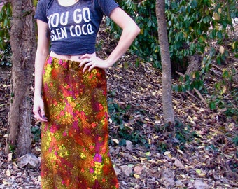 Vintage 1970s FLORAL Bright Maxi Skirt Hostess Hippie