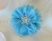 Elsa Hair Bow- Frozen Barrette- Blue Snowflake Hair Clip- Match Elsa Costume- Perfect Disney Trip Accessory