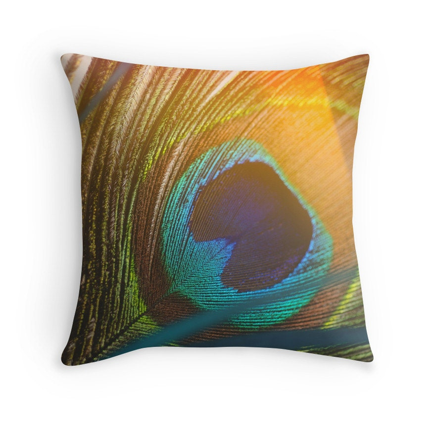 Throw Pillow Peacock : Peacock Feather Decorative Throw Pillow by KaliLainePhotography
