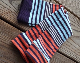 Purple Pink and Blue Striped Leggings or Arm Warmers for Babies and Girls
