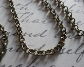 Small Round 3mm Link Antiqued Brass Rolo Chain - 48 inches each strand
