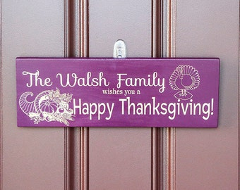 Thanksgiving Decor-Personalized Happy Thanksgiving Door Sign, Happy Thanksgiving Decoration, Thanksgiving Welcome Sign, Family Name Sign