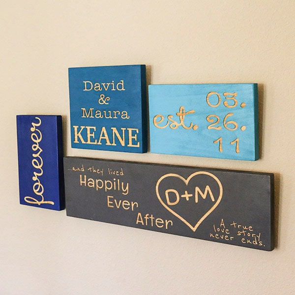 Chic personalized home decor piece set wedding gift