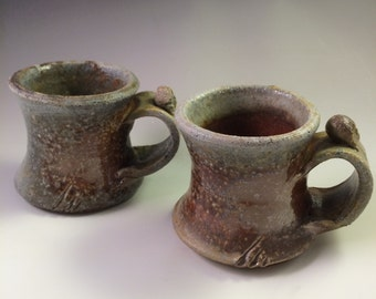 Pair of Wood-Fired, Brown and Cool Gray Espresso Cups