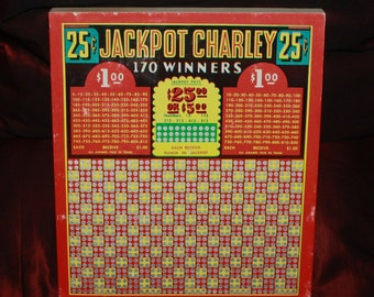 Vintage Jackpot Charley 25-cent Gambling Punch Board; Never-Used Saloon Tavern Bar Gaming