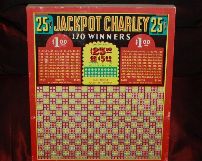 Vintage Jackpot Charley 25-cent Gambling Punch Board; Never-Used Saloon Tavern Bar Gaming