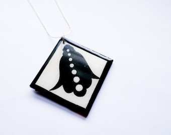 Classic Black and White Hand of Fatima Hamsa Upcycled/Recycled Necklace in Modern Form.