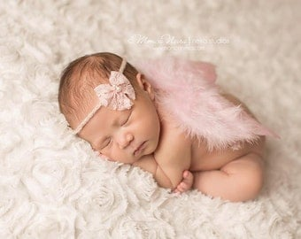Pink Feather Wings with headband, baby wings, angel baby, angel wings, newborn photo prop, photography prop