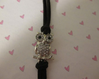Owl with Black Faux Suede Band Bracelet