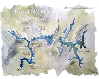 Watercolor Map of Your Favorite Lake, Bay, or Island, with Custom Calligraphy 9x12