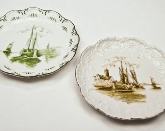 Antique Austrian China Display Plates Chinese Boat Scenes Hand Painted Antique ca 1907 - 1908 Collectible Plates