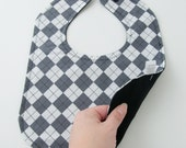 Grey Argyle Bib Cotton Baby Bib Toddler Bib Baby Snap Bib Grey White Gender Neutral Bib Diamond Bib Preppy Bib Gifts for Baby Under 20