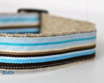 ON SALE - Stripe Blue, Tan and White Dog Collar, Adjustable Dog Collar, Hemp Dog Collar