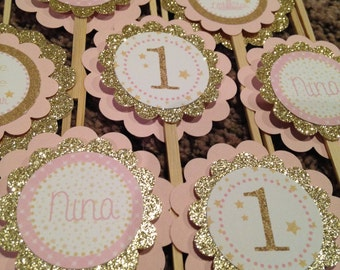 Twinkle Twinkle Little Star Collection: 12 Cupcake Toppers. Pink and Gold. Glitter. Stars. Elegant. Girly. First Birthday Cupcake Picks.