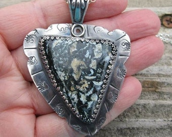 Native American Inspired Jasper Sterling Silver Pendant