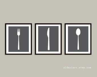 Fork Knife Spoon Prints, Kitchen Art Prints,  Kitchen Wall Art, Kitchen Decor, Custom Color, Frame not included, Aldari Art