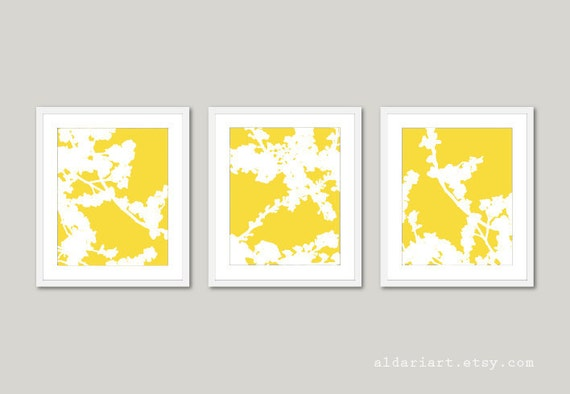 Spring Cherry Blossoms Art Prints - Yellow nd White Flowers - Modern Flowers Wall Art - Spring Home Decor
