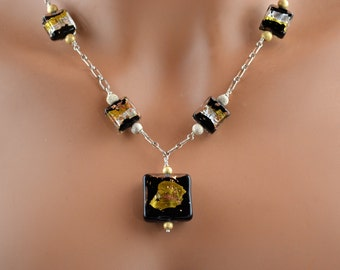LP 1185   Gold, Silver, Copper Foil Over Black Murano Glass Beads, Sterling Silver And 14KGF Beaded Necklace