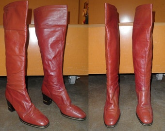 60s Mod Caramel Brown Knee High Leather Riding Boots Retro GoGo Size 6.5