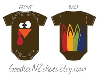 Newborn size Turkey onesie with feathers on the back short sleeve onesie bodysuit Thanksgiving READY TO SHIP!