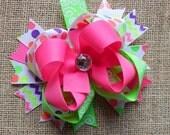 Neon Hair Bow, Colorful Hair Ribbon, Custom Baby Hairbow, Ribbon Hair Clip, Baby Hair Bow Clip,Neon Pink, purple, green, Ready to Ship