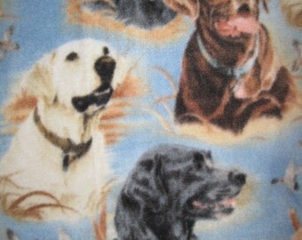 Labrador Dogs on Blue with Black Couch Throw Cover