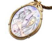 Unicorn Maiden Bronze Art Pendant
