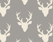 Grey and Cream Deer Head Antler Jersey Knit Fabric, Hello Bear by Bonnie Christine for Art Gallery Fabrics, 1 yard Jersey KNIT