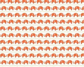 Orange White and Yellow Elephant Stripe Cotton Fabric, Oh Boy By Lori Whitlock for Riley Blake, Boy Elephants in Orange, 1 Yard