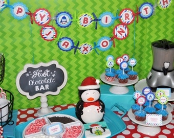 Penguin 1st Birthday Banner - Winter Onederland Birthday Party Decorations - Boy Penguin Birthday