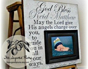 Baptism Gift, Goddaughter Gift, Godson Gift, Christening Gift, Personalized Picture Frame, Baptism Gift From Godparents 16x16