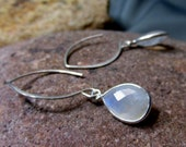 Moonstone Drops in Sterling Lotus Style  Ear Wire Earrings, Artisan Handmade