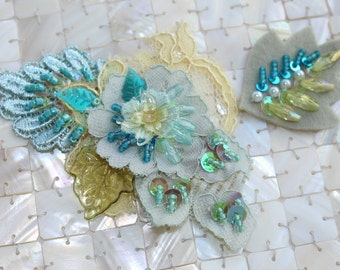 Yellow/Turquoise Beaded Lace Applique