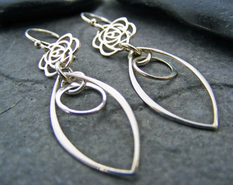 Sterling Silver Rose Earrings, Dangle Earrings, Rose Jewelry, Flower Jewelry, Minimalist Jewelry