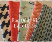 Fly Aweigh Rag Quilt Kit, Red, Blue, Orange, Easy to Make, Personalized