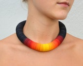 Statement Necklace made of black paper and sun colors