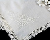 White Wedding Handkerchief, Vintage, White Embroidered Flower, Mum with a Crochet edge - E