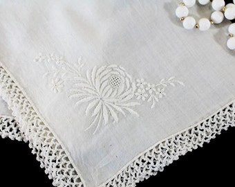 White Wedding Handkerchief, Vintage, White Embroidered Flower, Mum with a Crochet edge - E