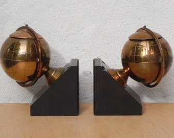 Mid Century Copper Colored Metal Globe Bookends with Tobacco Holder Compartments