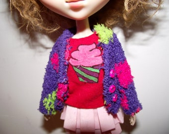 SALE Dark purple polka dot with buttons fuzzy fluffy cardigan sweater for Pullip