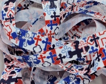 7/8 Christian Crosses Red White Blue Patriotic Theme