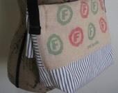 Vintage Funk Bros Seed Sack Bag Large Upcycled Handmade Fold Over Purse